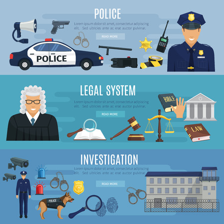 investigating: Vector banners of police and legal system judge