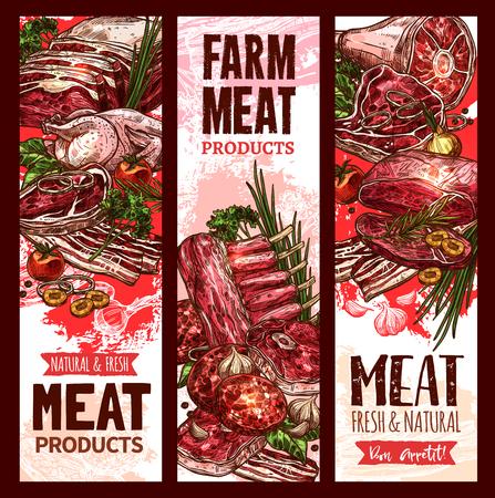 肉屋のベクトル生の新鮮なファーム肉バナー  イラスト・ベクター素材