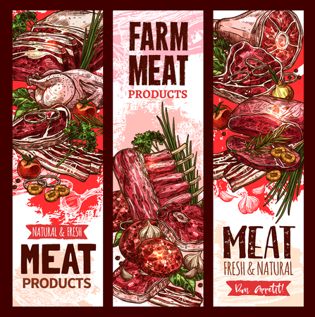 Vector raw fresh farm meat banners for butchery Illustration