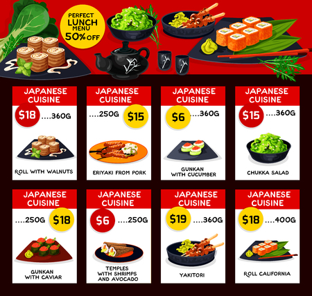 Japanese cuisine vector menu price cards template Illustration