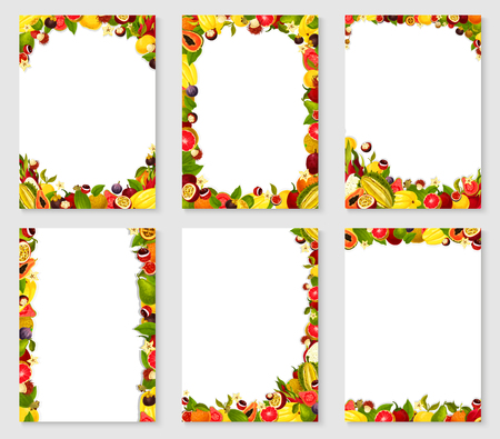 Vector frames set of exotic fresh fruits