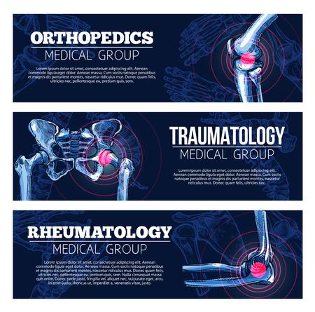 Medyczne banery wektor ortopedia, traumatologia Ilustracje wektorowe