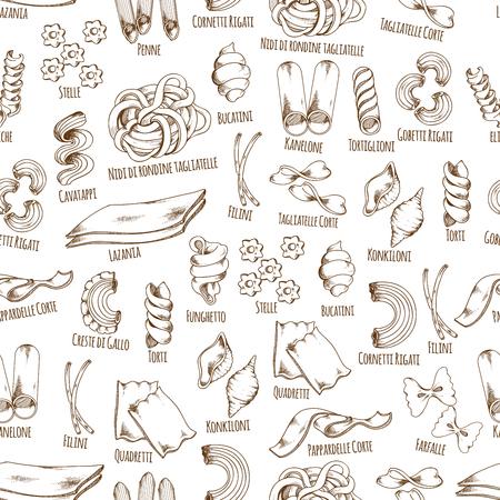 Italiaanse Pasta namen vector naadloze patroon