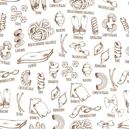 Les pâtes italiennes racontent le motif sans vecteur