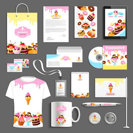Corporate identity vector items for bakery desserts