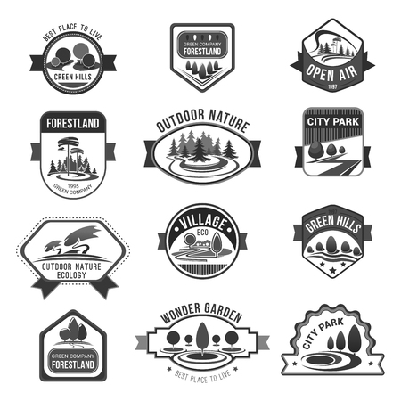 Green nature city parks company vector icons set