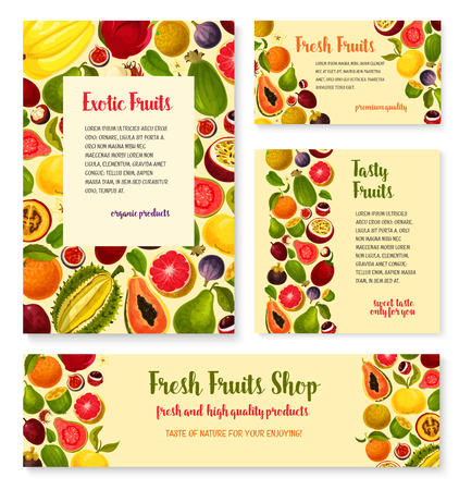 Vector templates set for exotic fresh fruits shop