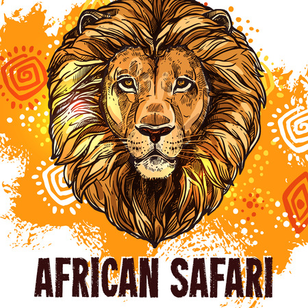 African lion poster safari hunting vector poster Ilustrace