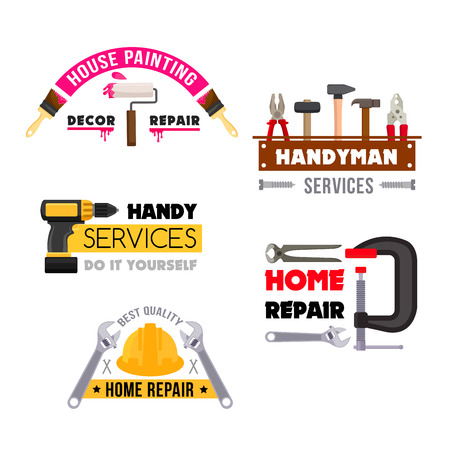 bolt: House repair vector icons of handyman work tools