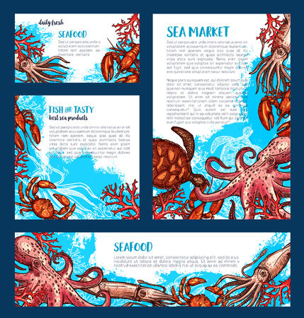 Vector posters or banners for fish seafood market