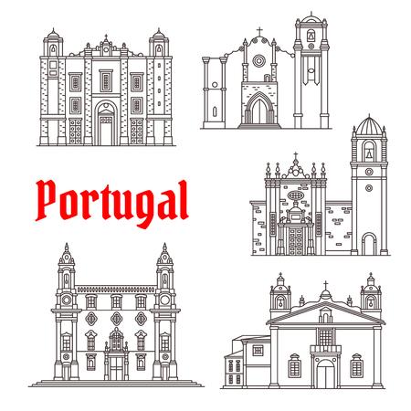 I punti di riferimento di architettura del Portogallo vector le costruzioni Archivio Fotografico - 81227165