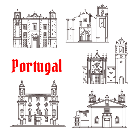 Portugal architectuur bezienswaardigheden vector gebouwen Stock Illustratie