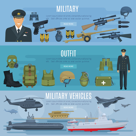 Vector banners military forces vehicles and outfit Çizim