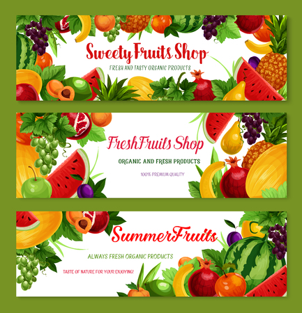Vector fruit shop banners of fresh natural fruits Illustration