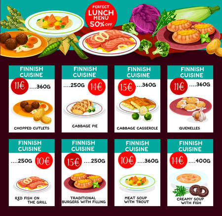 Finnish cuisine vector menu price cards template
