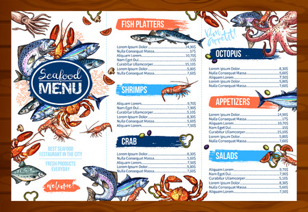 Vector menu for seafood or fish seafood restaurant Çizim