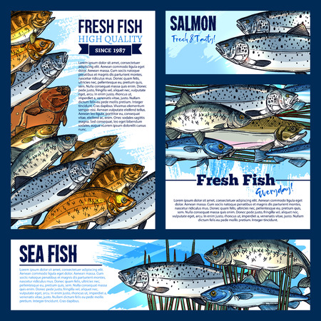 Vector posters or banners for fresh fish market