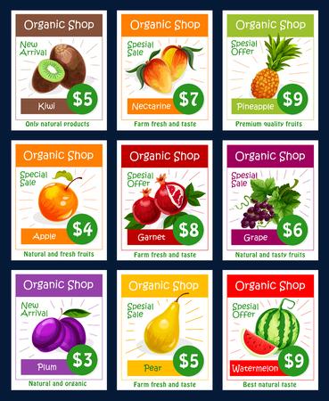 Frutas de vector conjunto de precios de frutas para la tienda de frutas Foto de archivo - 81227334