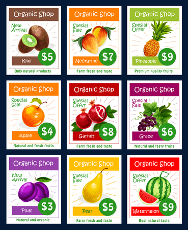 Vector fruits price cards set for fruit shop