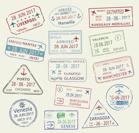 벡터 아이콘의 세계 여행 도시 여권 스탬프 일러스트