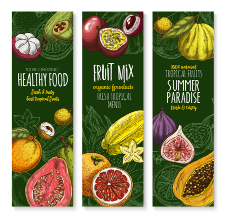 Vector banners set for exotic fresh fruits menu
