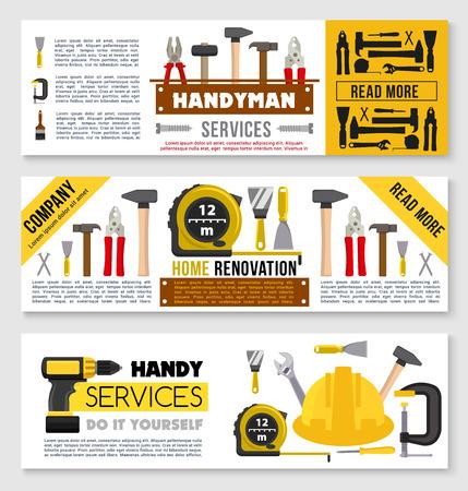 House repair banner set ot construction work tools Çizim