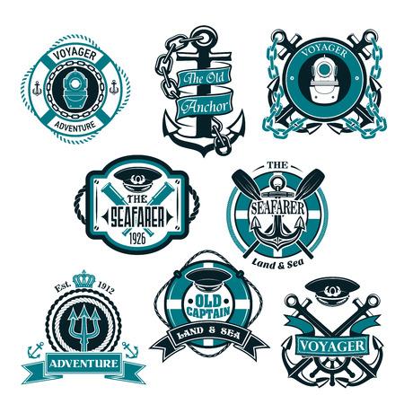 Vector icons set of nautical and marine symbols Çizim