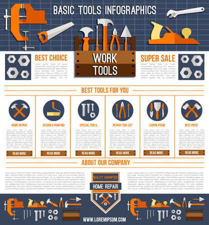 Vector landing page template for repair work tools