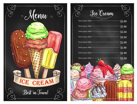 아이스크림 디저트 카페의 벡터 가격 메뉴 일러스트
