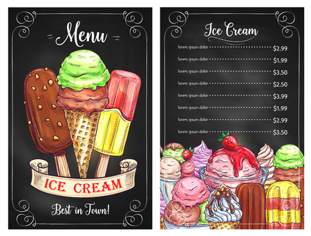 Vector price menu for ice cream desserts cafe
