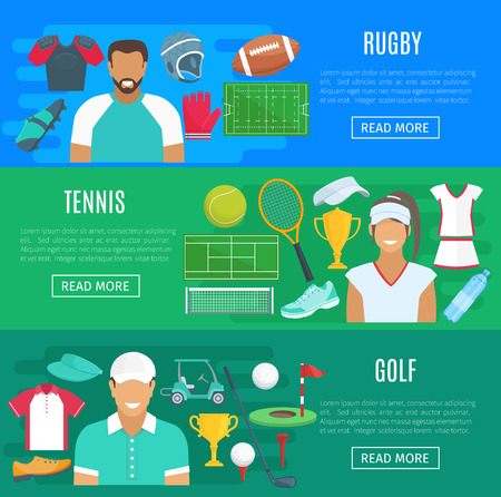 Vector banners for rugby, tennis and golf sport Illustration
