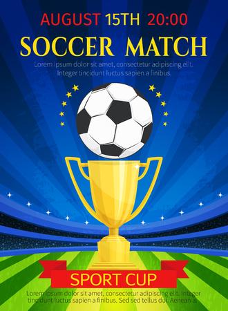 Cartel de vector para el campeonato de partido de fútbol Ilustración de vector