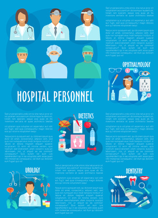 Medical personnel and hospital doctor poster Illustration