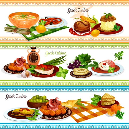 Greek cuisine traditional food banner set of eggplant cheese casserole moussaka, pickled olive fruit, meat roll with cheese, pita bread, fried fish, squid ring in wine sauce, chicken stew, honey cake