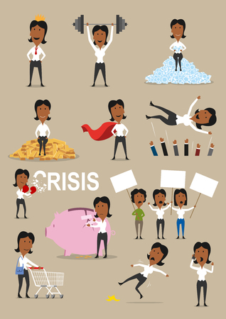 사업가 활동 만화를 설정합니다. 성공적인 사업가 골드 바, 왕관과 영웅 빨간 케이프, 휴대 전화로 이야기, 장바구니, 위기와 싸우는 관리자와 함께 쇼