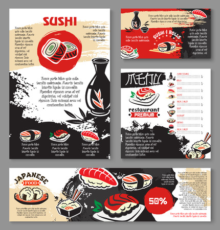 Japanese seafood restaurant poster and banner template design. Sushi and asian food menu card or flyer design with sushi roll with fish and shrimp, fried seafood rice, noodle soup, tea and sake drink Illustration
