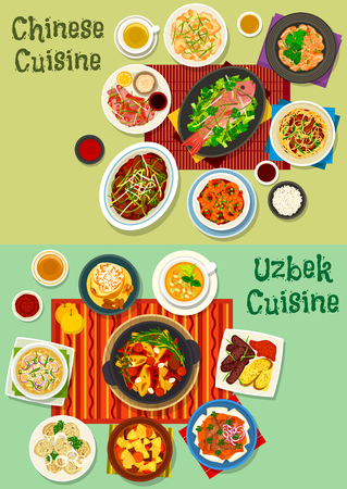 Chinese and uzbek cuisine dinner icon set. Meat dumpling, kebab, noodle with ham, rich meat soup with noodle and vegetable, peking duck salad, chilli shrimp, fish, meat veggies stew and fruit dessert Ilustrace