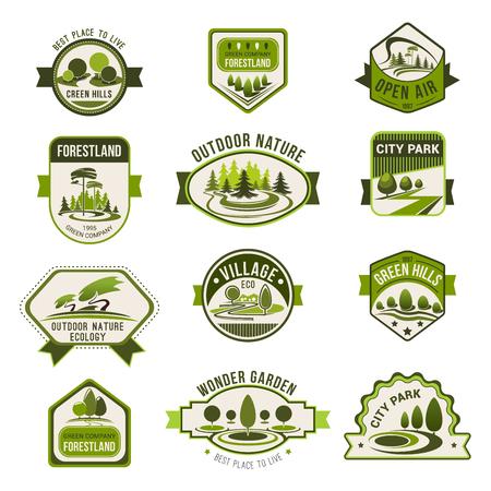 공원, 녹색 도시 정원, 에코 조경 디자인, 숲 자연 배지 세트. 장식 잔디 녹색 나무 생태, 조 경, 온실 및 에코 친화적 인 비즈니스 테마 디자인에 대 한