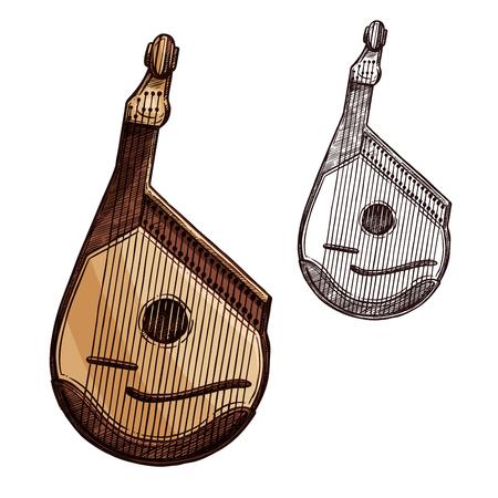 우크라이나어 악기 bandura 격리 된 스케치입니다. Bandura 또는 kobza, 민속 뮤지컬 페스티발 및 콘서트 포스터 디자인을위한 우크라이나 음악의 끈으로 묶