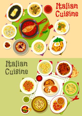 Cocina italiana sabrosos platos de comida icon set diseño Foto de archivo - 81628221