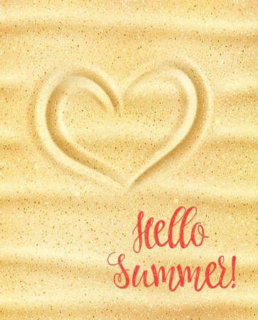 Hallo zomer poster. Liefhebbend hart op geel zand van zonnig overzees strand voor de zomervakantie en de tropische kaart van de vakantiegroet, van de reisbanner en strand de uitnodiging ontwerp