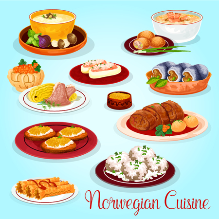 Noorse keuken gerechten voor lunch menu cartoon icoon. Zalm- en champignonroomsoep, aardappelzalmtaart, haringbroodje, lamskoolstoofpot, gevulde komkommer, visrolletje, toast met snoekkuit, wafelbroodje