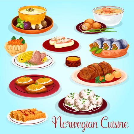 Plats de cuisine norvégienne pour icône de dessin animé menu déjeuner. Velouté de saumon et de champignons, tarte au saumon aux pommes de terre, rouleau de hareng, ragoût de chou d'agneau, concombre farci, rouleau de poisson, pain grillé aux ?ufs de brochet, rouleau de gaufre Banque d'images - 81576148