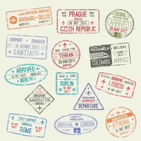 Passport stamp of international travel visa isolated set. Passport visa stamp of London, UK, Rome, Italy, Athens, Greece, Berlin, German, Lisbon, Portugal, Delhi, India countries for travel design