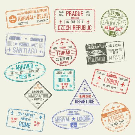 Passport stamp of international travel visa isolated set. Passport visa stamp of London, UK, Rome, Italy, Athens, Greece, Berlin, German, Lisbon, Portugal, Delhi, India countries for travel design