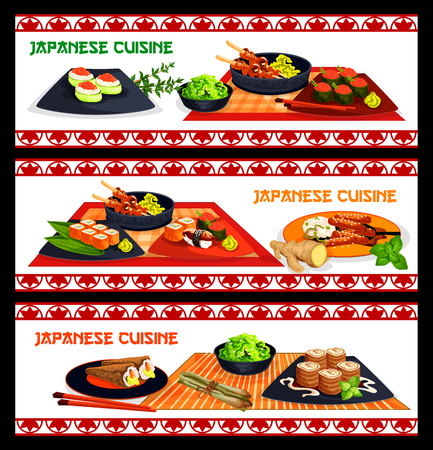 Japanese cuisine sushi and asian seafood dishes banner set. Assortment of sushi with rice, salmon, tuna, seaweed, caviar, shrimp and avocado, grilled chicken yakitori, teriyaki pork, roll with cream