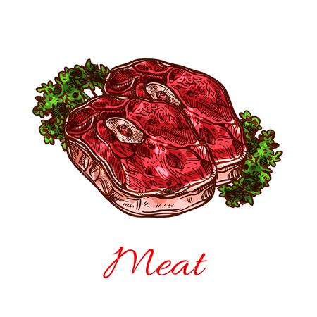 Meat steak isolated sketch for food design Illustration