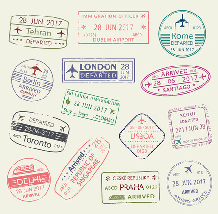 Passport stamp of travel visa isolated set design Vectores