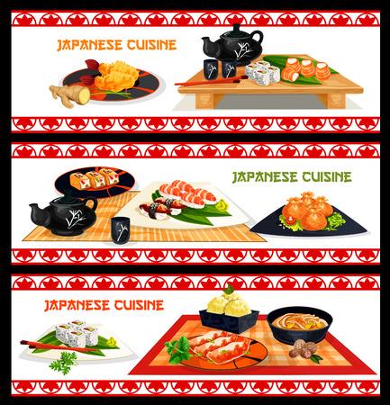 Japans ontwerp van het de banner het vastgestelde menu van zeevruchtenschotels