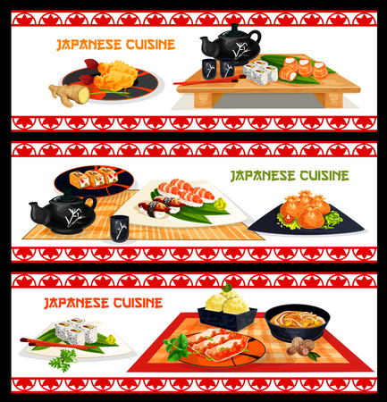 Japanese seafood dishes banner set menu design